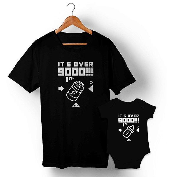 Kit Over 9000 Preto Camiseta Unissex e Body Infantil