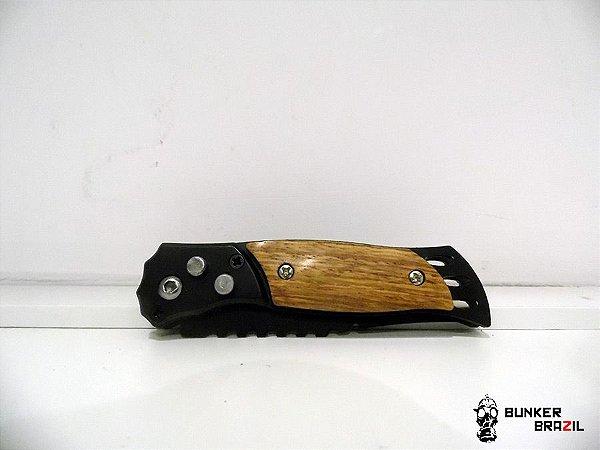 Mini Canivete Automatico com cabo em madeira