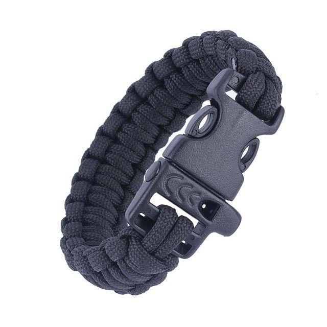 Pulseira Bracelete de sobrevivência com Apito - preto