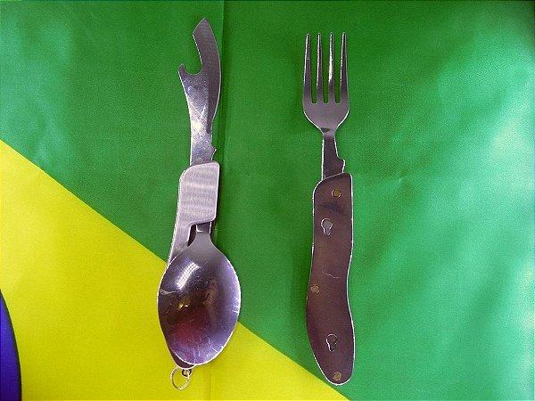 Talheres de Metal Dobrável 3 in 1 - Garfo colher faca