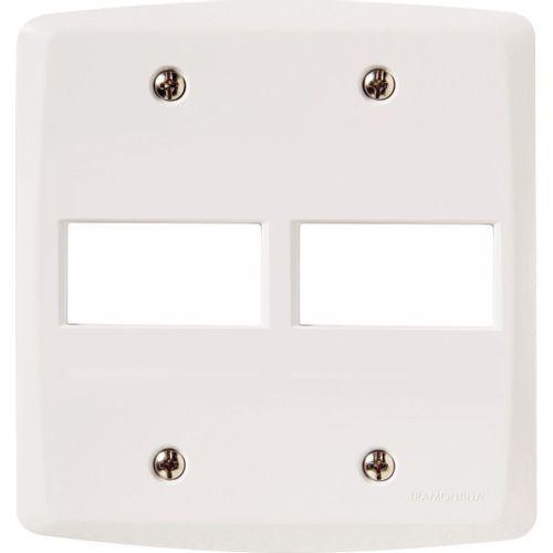 Placa 2 postos horizontal 4x4  lux² branca