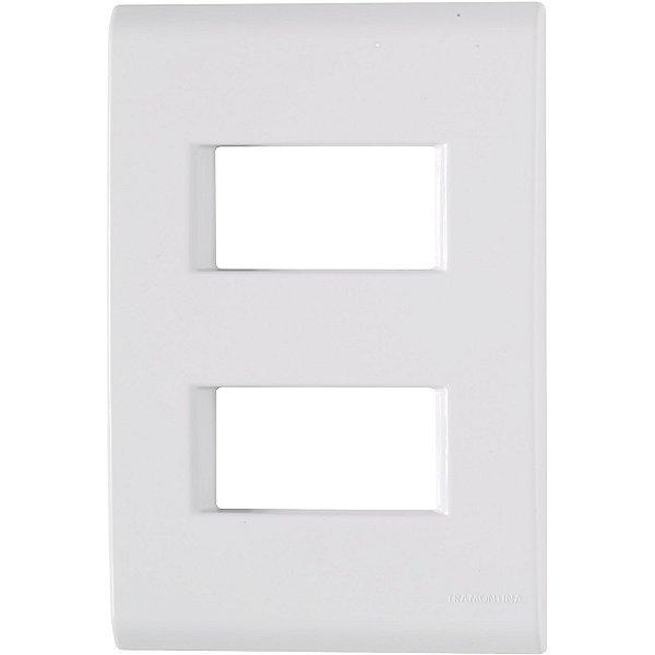 Placa 2 postos afastados 4x2  liz branca