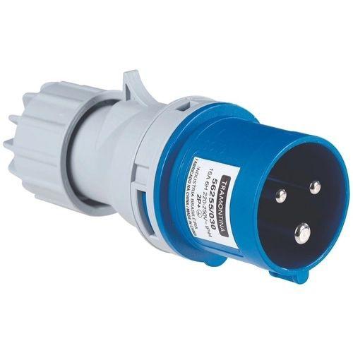 Plugue movel industrial   2p+t 16a azul 220 250 v