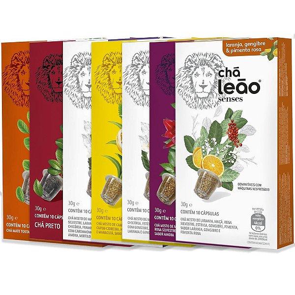 Combo de 7 sabores de Cápsulas de Chá Leão - 70 Cápsulas