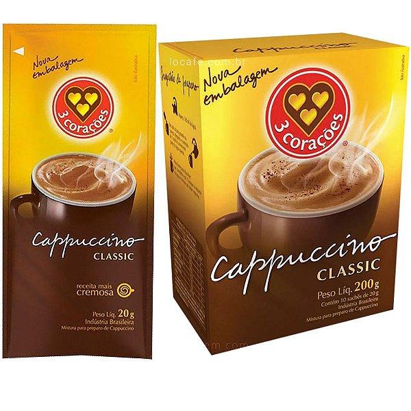 Cappuccino Classic 3 Corações 200g Caixa com 10 Sachês