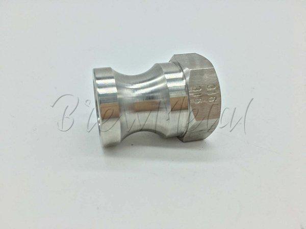 Engate rápido macho camlock 1/2 X Furo 1/2 para solda (prata ou TIG) em inox 316