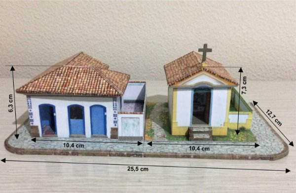 Esquina Colonial + Capela 1:87, Maquete Já Montada