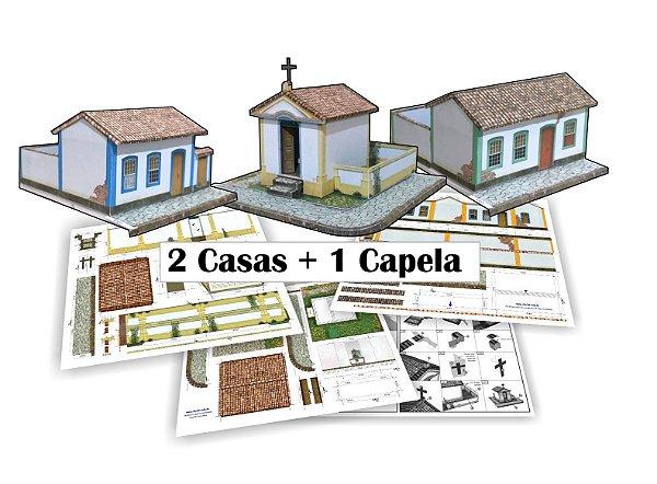 """Kit """"A"""" Casas E Capela para Montar - Já Impressa + Manual 1:87"""