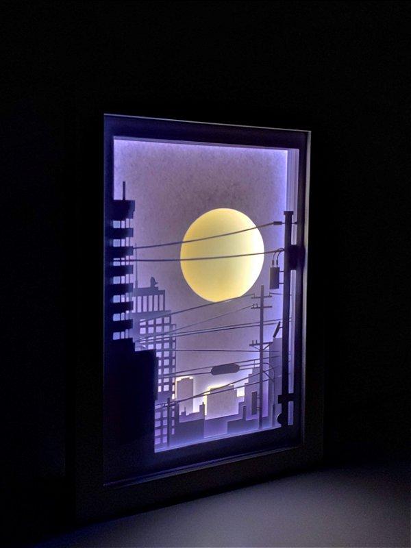 Quadro Decorativo Urbano Sol - Corte Artesanal Papel E Led