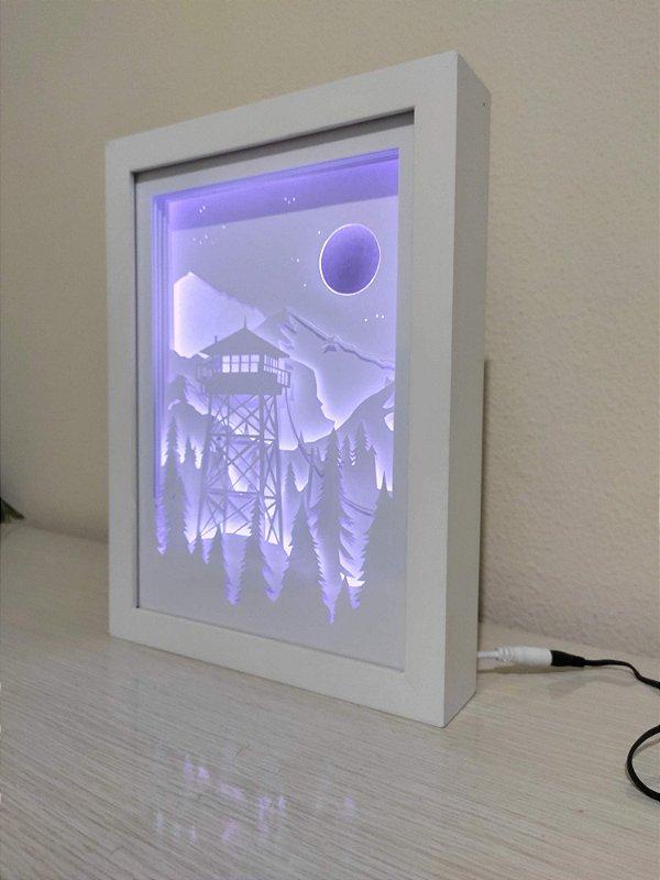 Quadro Decorativo Mirante montanhas - Corte Artesanal Papel E Led