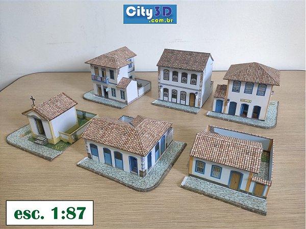 Conjunto 6 casas  Esc. 1:87 -  Ho ,  Maquete De Papel - Montadas