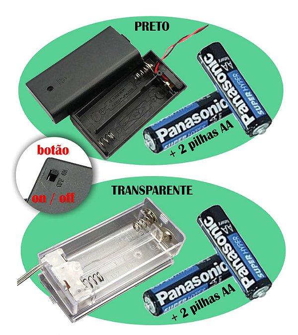Caixa On/off Case Pilhas AA Para  Leds  e postinhos a Pilhas