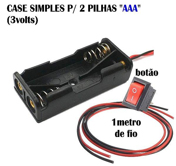 Caixa Case Simples 3volts + 1m Fio  + botão externo P/ Luz Led