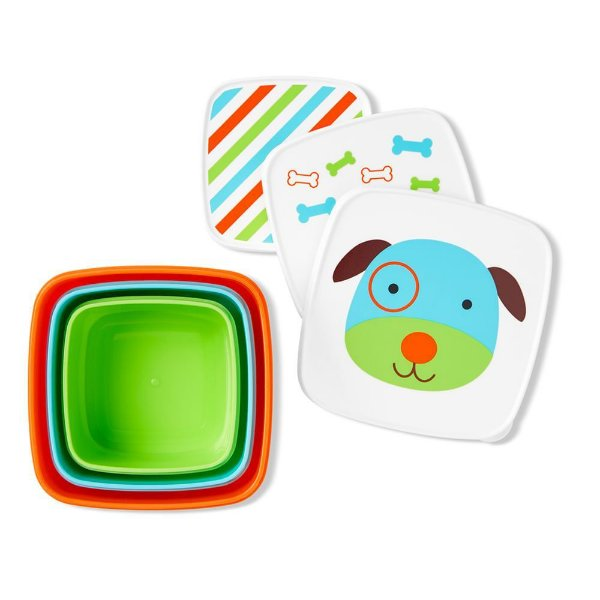 Kit com 3 porta Snack Cachorro Skip Hop Zoo