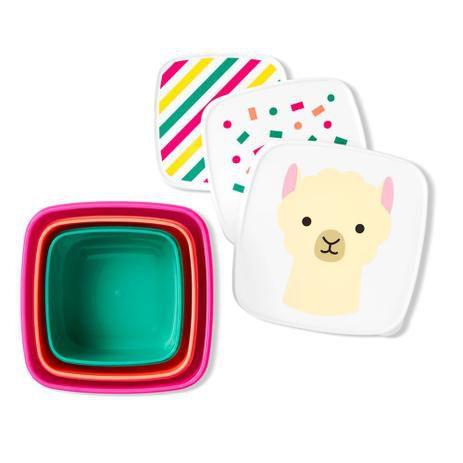Kit com 3 porta Snack Lhama Skip Hop Zoo