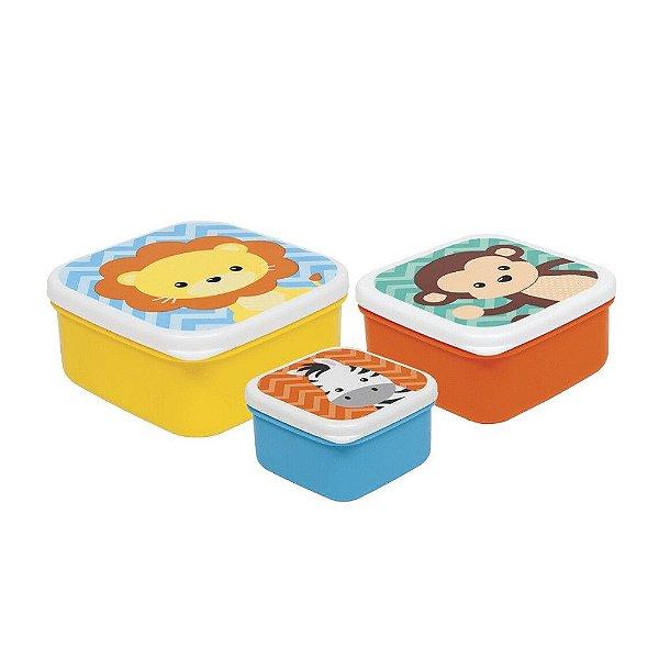 Kit com 3 potinhos animais Buba