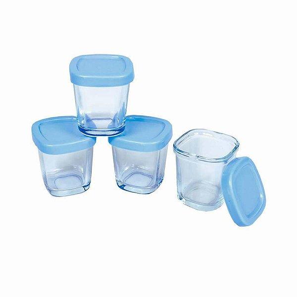 Kit com 4 potes de vidro Azul