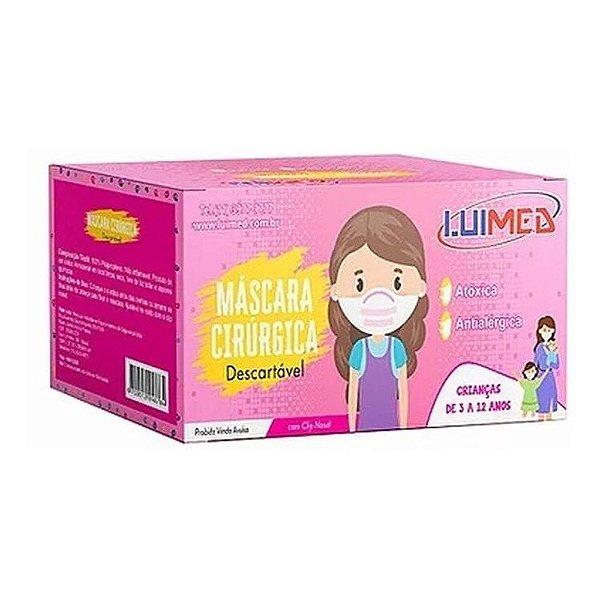 Máscara Descartável Infantil Rosa Luimed (50 unidades)