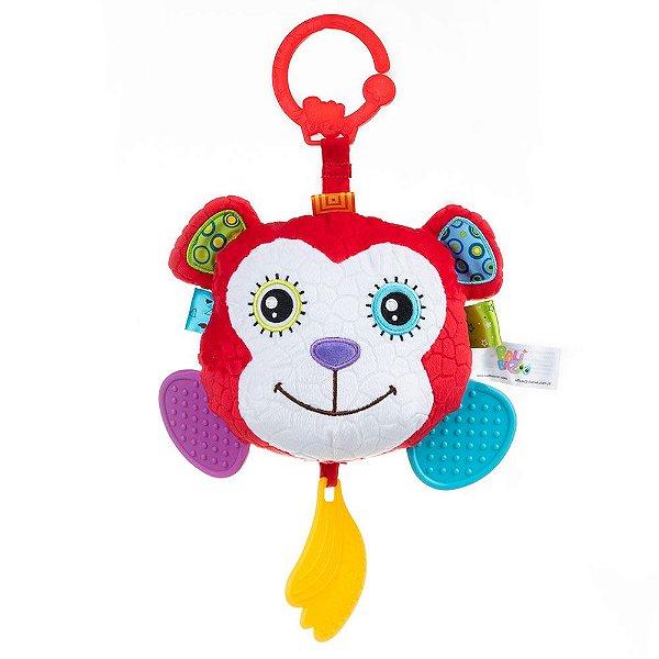 Plush Hanging Teether With Round Mirror – Monkey – MONKEY HEAD MIRROR