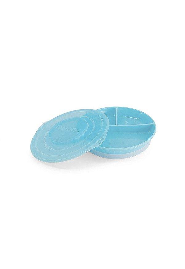 Prato com divisórias e tampa Azul TwistShake