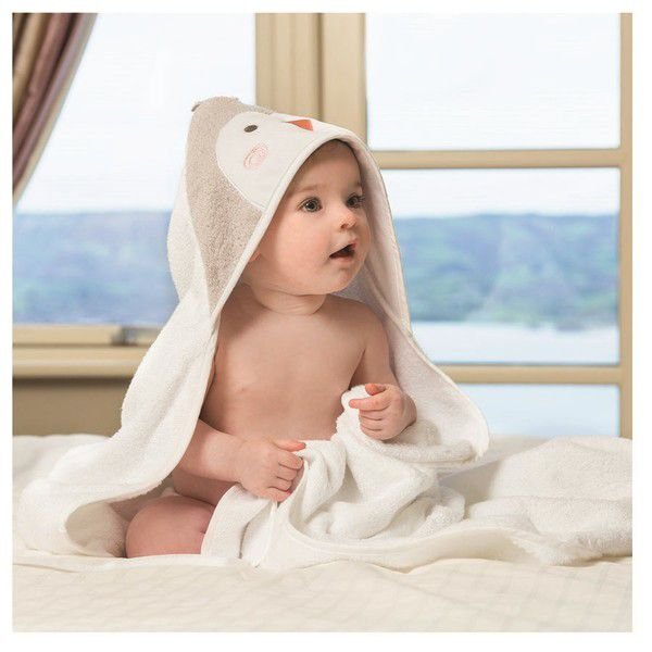 Toalha Mamãe e Bebê Pinguim Branco Fibra Bambu Clevamama