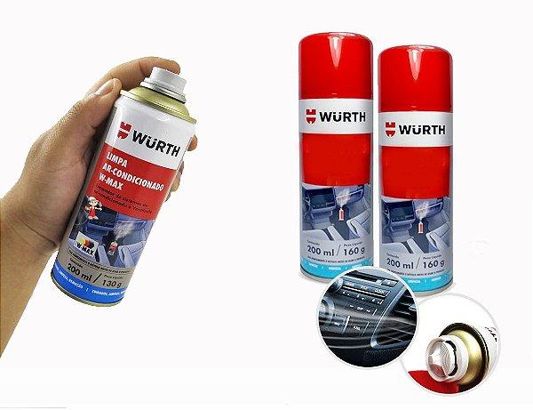 kit 2 Limpa ar condicionado para limpeza e higienização de ar condicionado automotivo veiculo sem odores desagradaveis Wurth