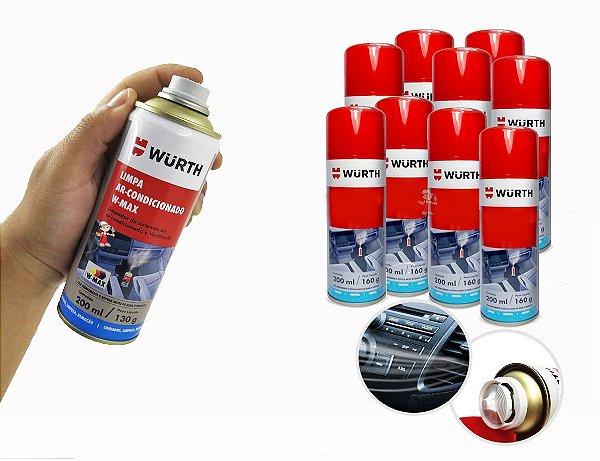 kit 10 Limpa ar condicionado para limpeza e higienização de ar condicionado automotivo veiculo sem odores desagradaveis Wurth