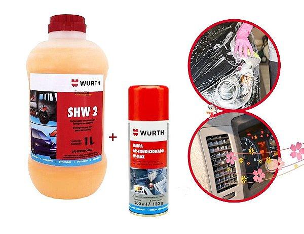 Kit shampoo automotivo + limpa ar condicionado para Limpeza Automotiva
