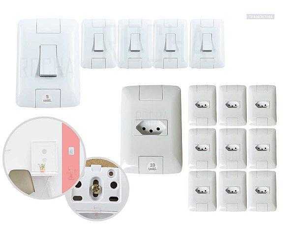 Kit Tomadas e interruptores Tramontina 10 Tomadas e 5 Interruptores 10a Aria Com Placa Excelente qualidade