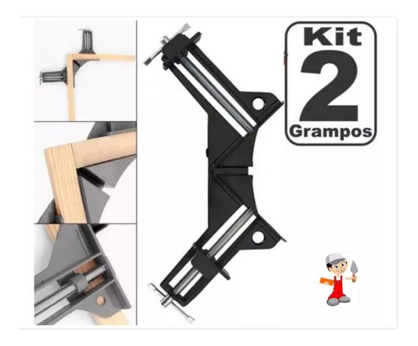 Kit 2 Grampo sargento para marcenaria angular 90 graus para madeira vidro metal - Felsen