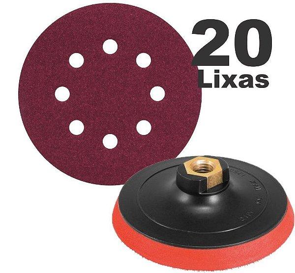 Suporte P/ Furadeira E Esmerilhadeira + 20 Disco Lixa para madeira metal massa e similares 125mm  8 Furos lixa roto orbital