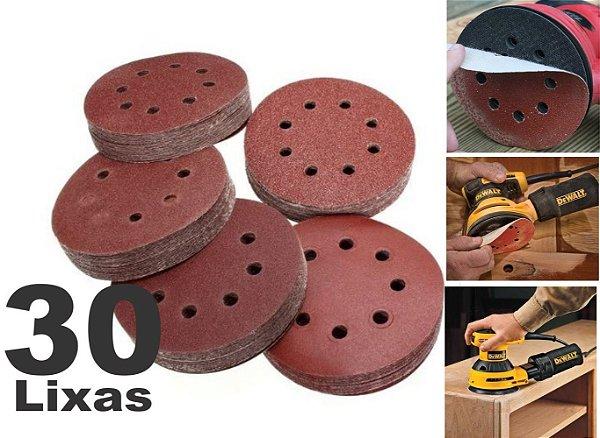 Kit 30 Disco Lixa para madeira metal massa e similares 125mm 8 Furos lixa roto orbital