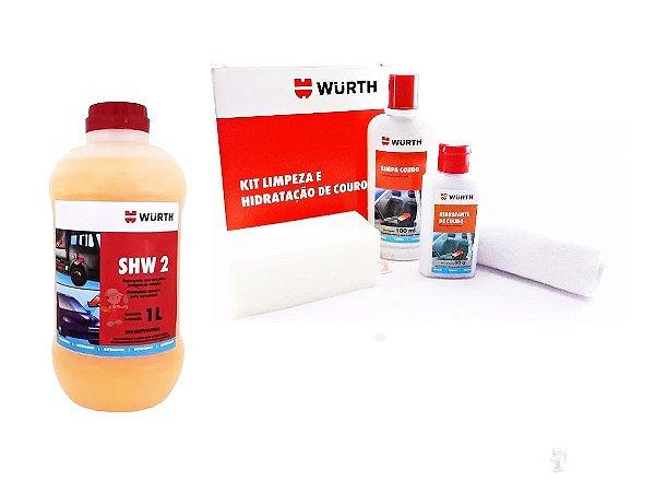 Produto para lavar carro shampoo automotivo + Limpa e hidrata couro profissional automotivo Wurth