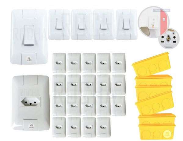 20 tomadas e 5 interruptores Tramontina Aria + 25 CAIXINHA 4x2 sua Casa completa e Linda