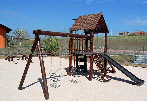 Playground ecológico Casinha do Tarzan completa com torre de pneus e tubo de bombeiros/ Residencial Fazenda Alta Vista