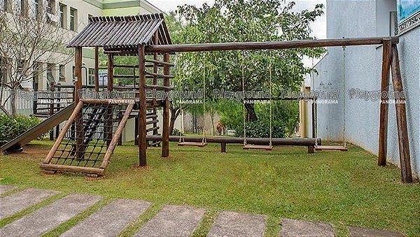 Casinha do Tarzan em eucalipto tratado com 03 balanços   Clínica Bozelli