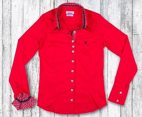 39bed8ef12 Camisa Feminina Vermelha Floral - Modistra - Camisa Social Feminina