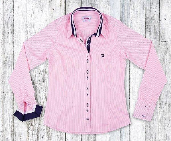 Camisa Feminina My Cris Listrada Rosa Claro