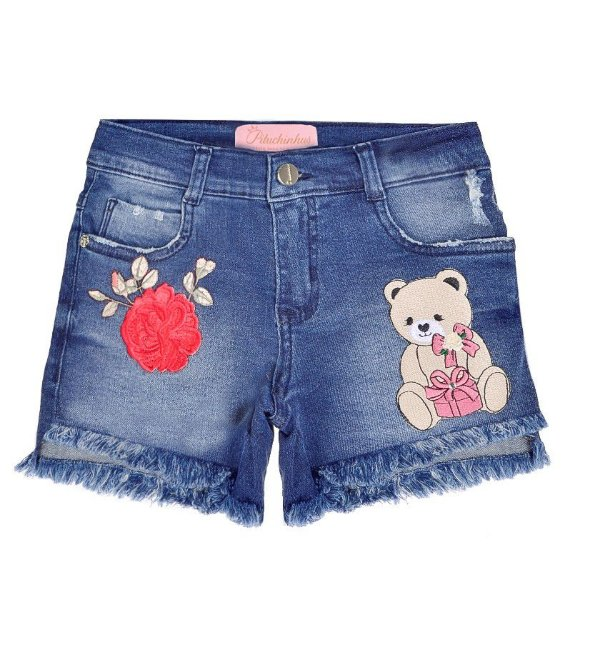 SHORTS JEANS COM PATCHES PITUCHINHUS