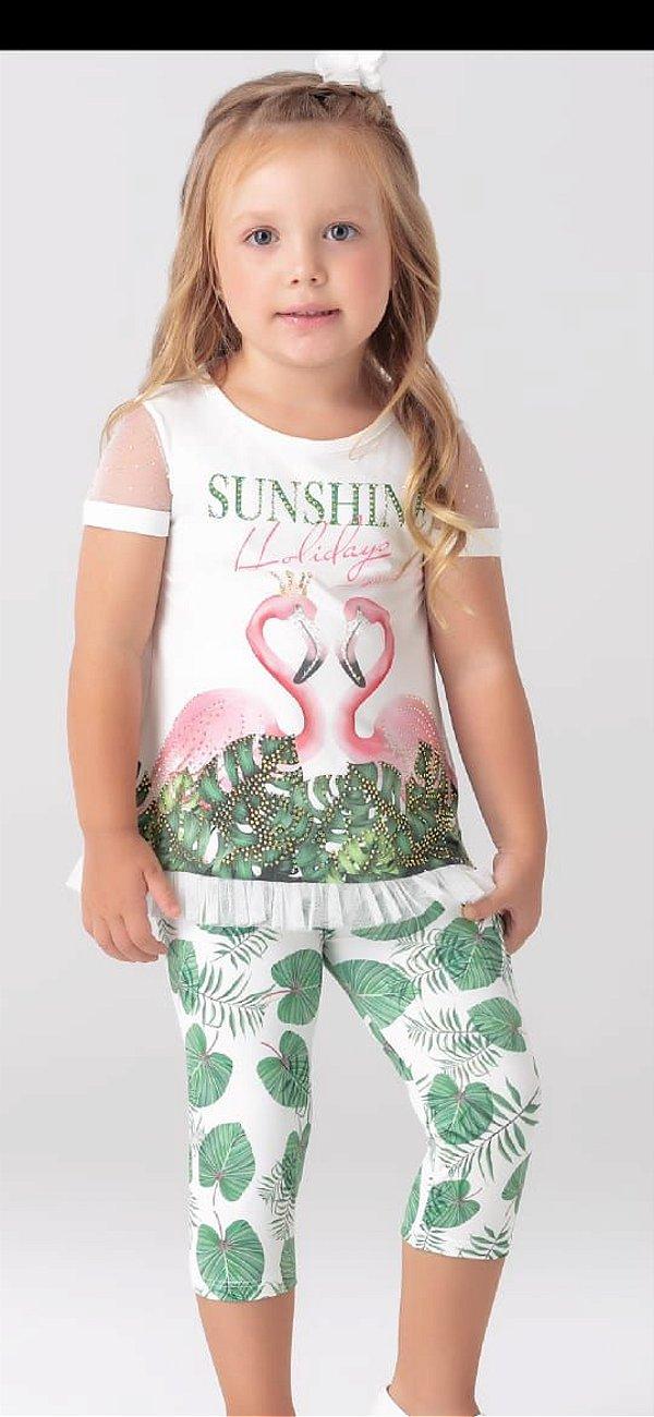 Conjunto com legging blusa flamingos Petit Cherie