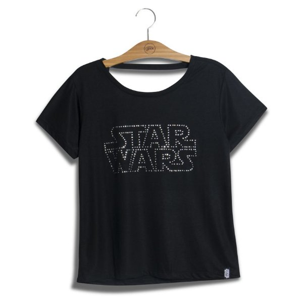 Camiseta Feminina Star Wars Logo Cristais Swarovski
