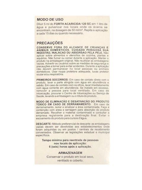 Forth Mata Ácaro ( Acaricida ) 100ml concentrado – Proteção das plantas