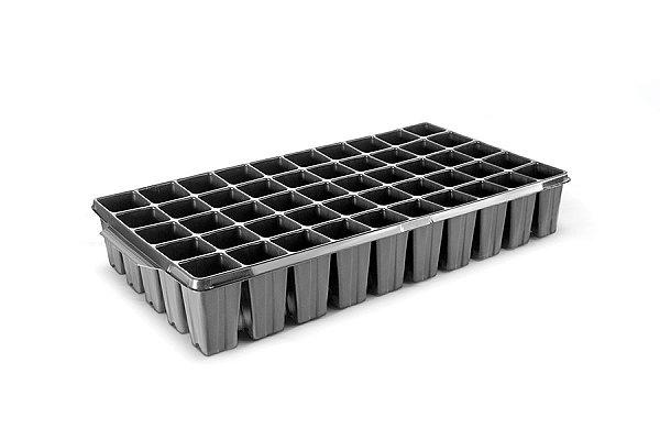 Kit com 10 Bandejas de Germinação com 50 células Quadradas - Preto