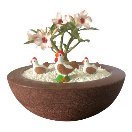 Trio de galinhas caipira (miniaturas) de gesso para enfeitar vasos e terrários