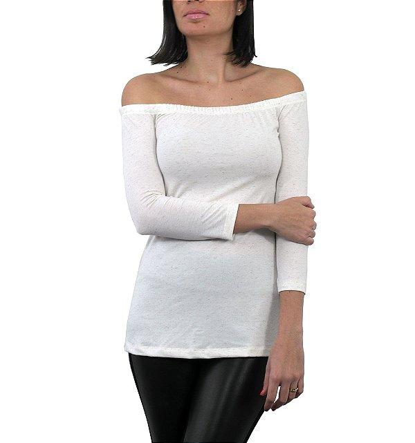 blusa básica   ombro a ombro off white   coleteria