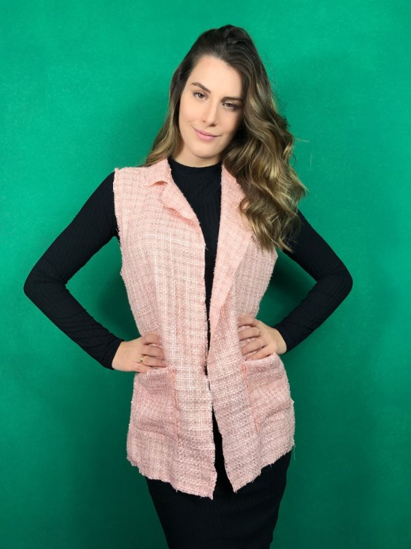 colete de tweed rosa claro Coleteria