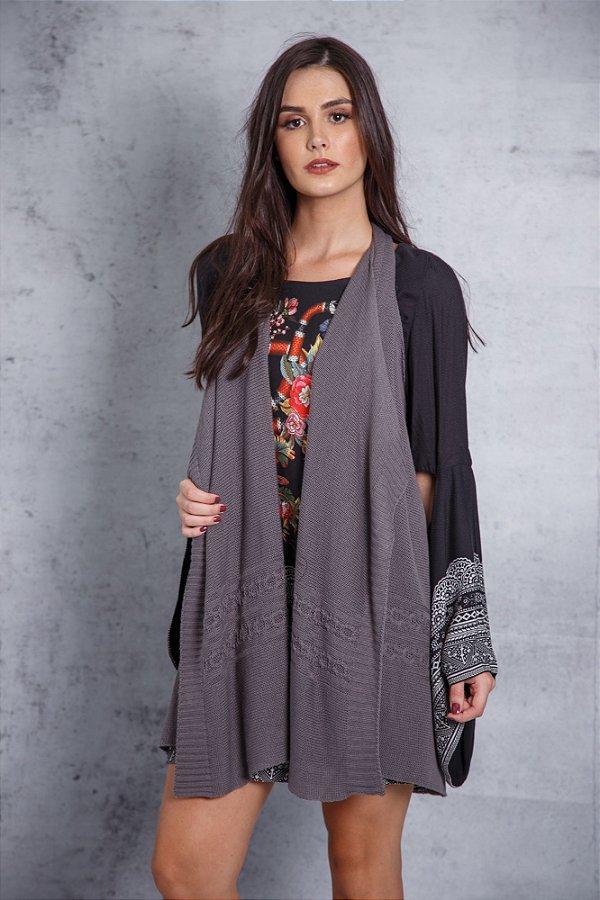 colete de tricô multifuncional cinza coleteria