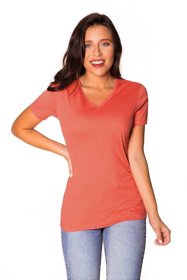 Camiseta básica decote V coral| t-shirt básica| Coleteria