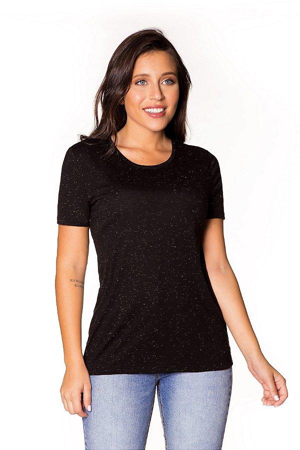 Camiseta básica Brilho Mystic Cristal preta| t-shirt básica| Coleteria