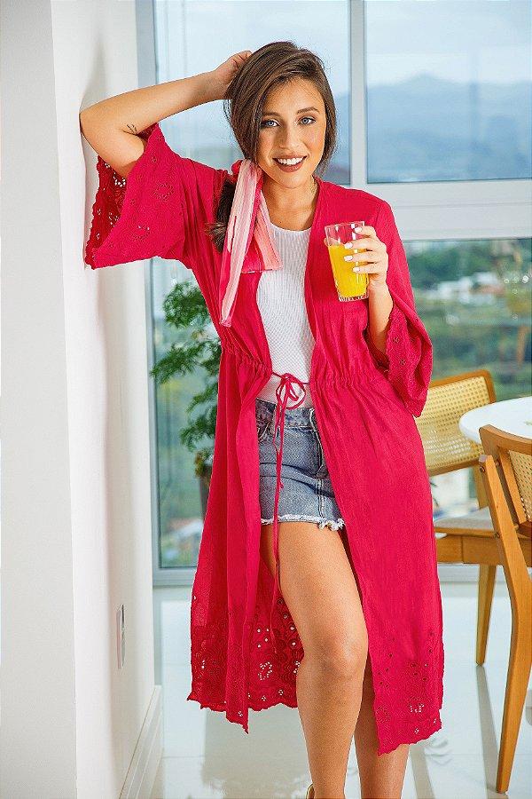 Kimono Tecido Barrado rosa|kimono| Coleteria